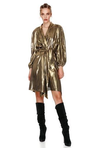 Gold Metallic Wrap Dress - PNK Casual