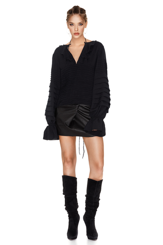 Black Pleated Blouse - PNK Casual