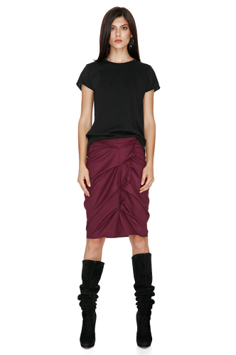Burgundy Ruffled Skirt - PNK Casual