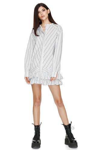 Ruffled Striped Cotton Mini Dress - PNK Casual