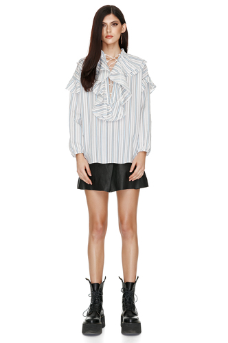 Striped Cotton Ruffled Shirt - PNK Casual