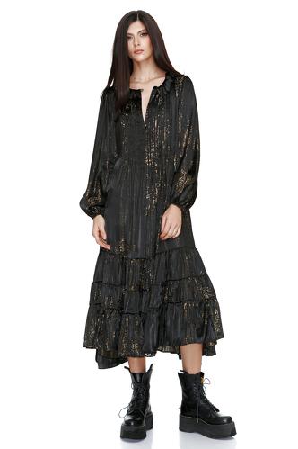 Black Metallic Silk Panelled Midi Dress - PNK Casual