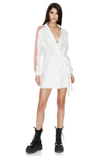 White Cotton Wrap Dress - PNK Casual