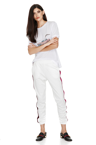 White Contrasting Side Pants - PNK Casual