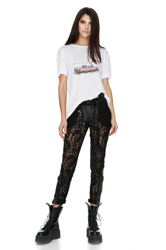 Black Lace-Leather Pants - PNK Casual