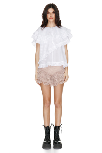 Beige Crocheted Lace Shorts - PNK Casual