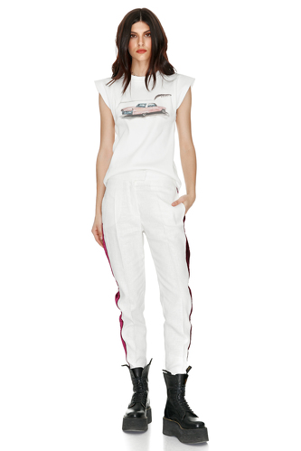 White Ramie-Viscose Tapered Pants - PNK Casual
