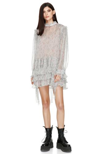 Pleated Ruffled Floral Print Silk Dress - PNK Casual