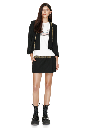 Black Wool Jacket With Beads Trim - PNK Casual