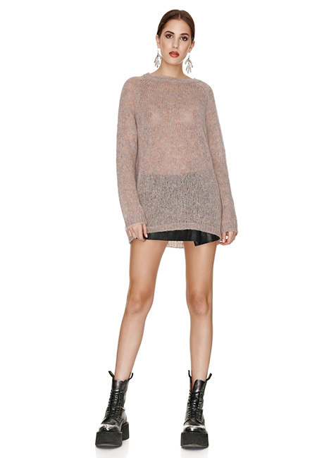 BEIGE OVERSIZED WOOL AND MOHAIR SWEATER