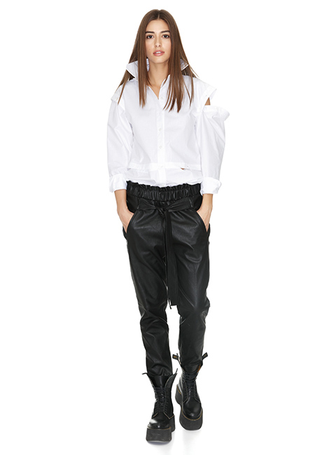 WHITE CUTOUT COTTON SHIRT