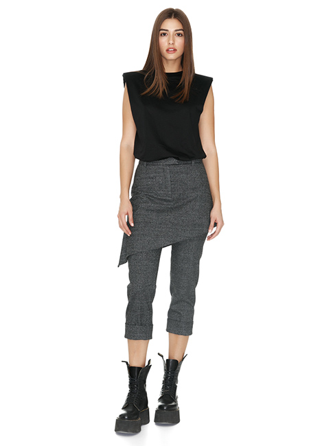 GREY SKIRT LAYERED PANTS