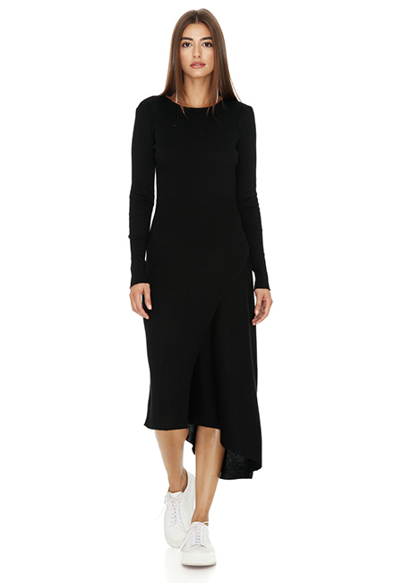 RIBBED KNIT COTTON MIDI BLACK DRESS