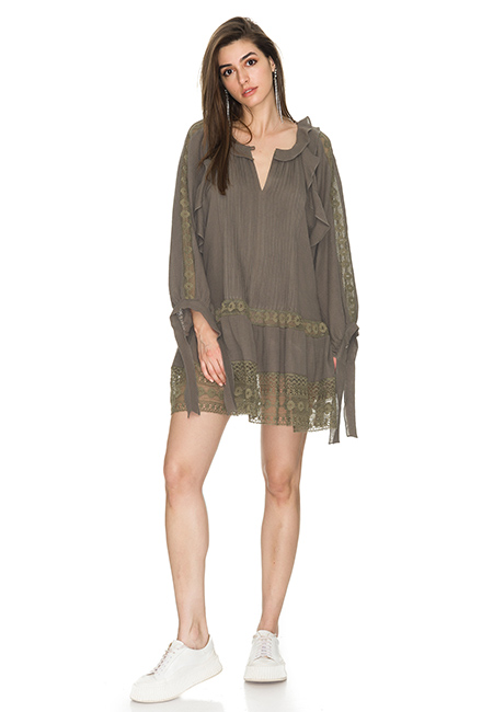 KAKI OVERSIZED COTTON DRESS WITH LACE INSERTIONS