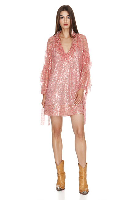 PINK SEQUINS MINI DRESS