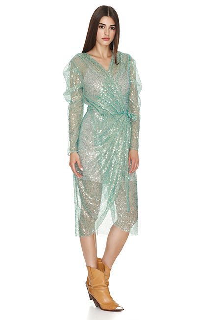 AQUA SEQUINS WRAP MIDI DRESS
