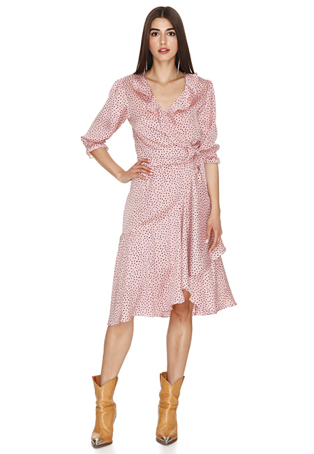 ROSE WRAP-EFFECT MIDI DRESS
