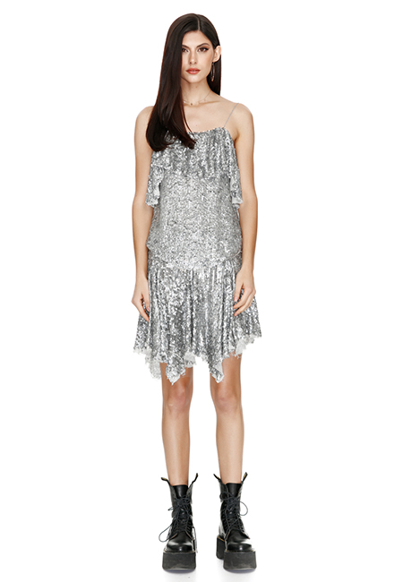 BACKLESS SEQUIN MINI DRESS