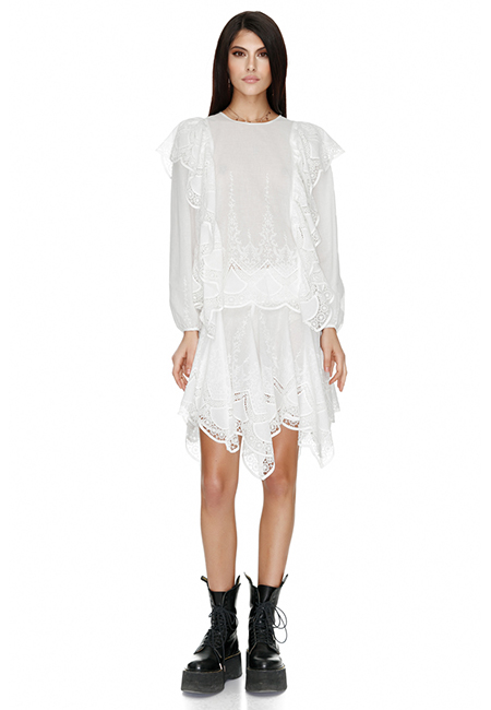 WHITE COTTON LACE BLOUSE