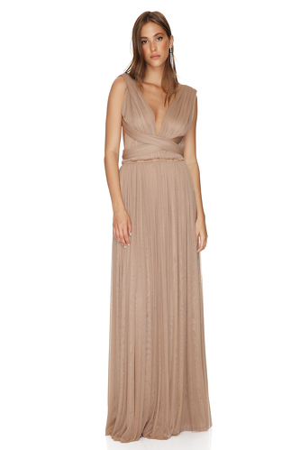 Nude Silk Tulle Gown - PNK Casual