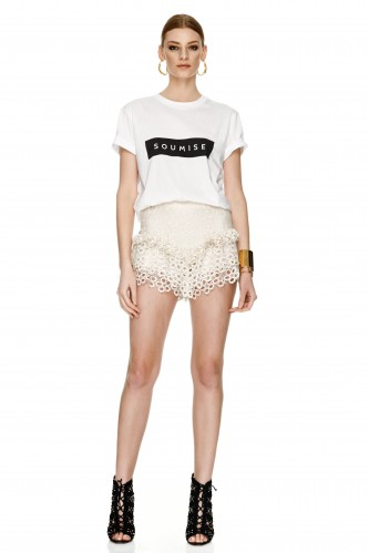 Off White Lace Cotton Crocheted Shorts - PNK Casual