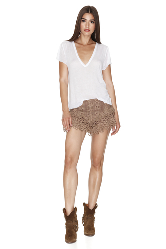 Brown Crocheted Lace Shorts - PNK Casual
