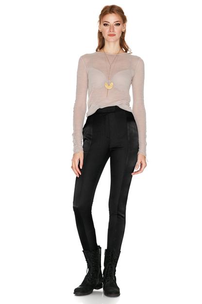 Black Wool And Satin Pants