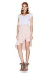 Pink Asymmetric Midi Skirt
