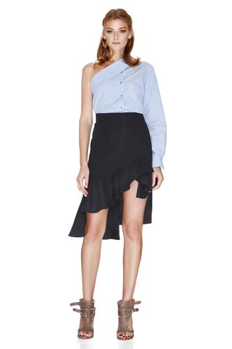 Black Asymmetric Midi Skirt - PNK Casual