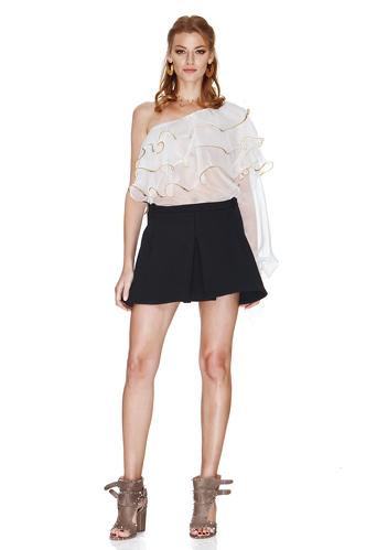 White Silk Chiffon One Shoulder Blouse - PNK Casual