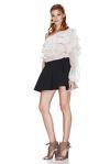 White Silk Chiffon One Shoulder Blouse