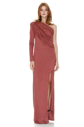 Pink One Shoulder Maxi Dress - PNK Casual