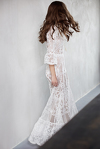 White Crocheted Floral Lace Maxi Dress