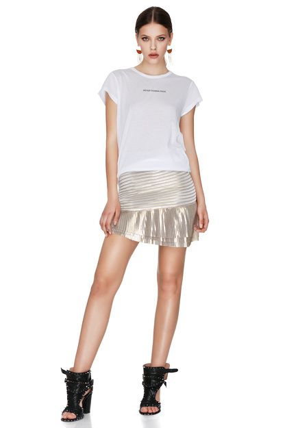 Gold Pleated Lamé Mini Skirt