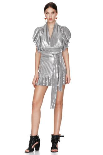 Silver Pleated Lamé Mini Skirt - PNK Casual