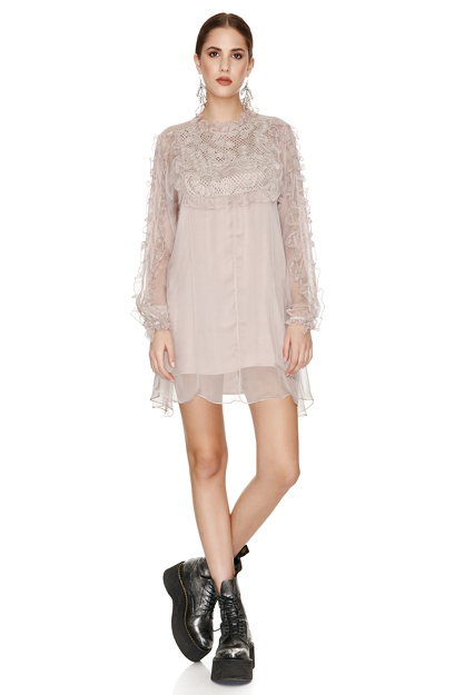 Beige Silk Chiffon and Lace Mini Dress