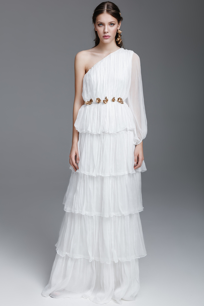 White Silk Long Dress