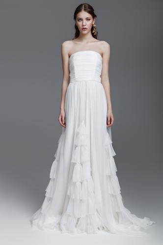 White Silk Chiffon Dress With Corset - PNK Casual