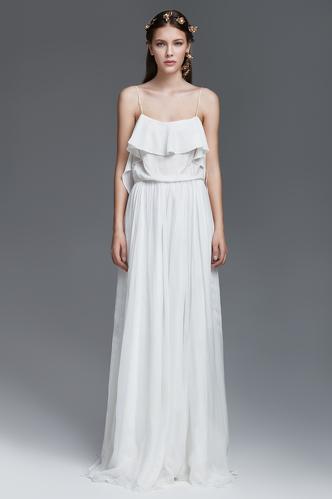 White Silk and Velvet Long Dress - PNK Casual