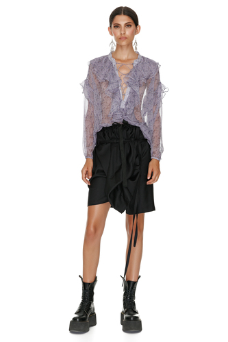 Black Asymmetric Folded Skirt - PNK Casual