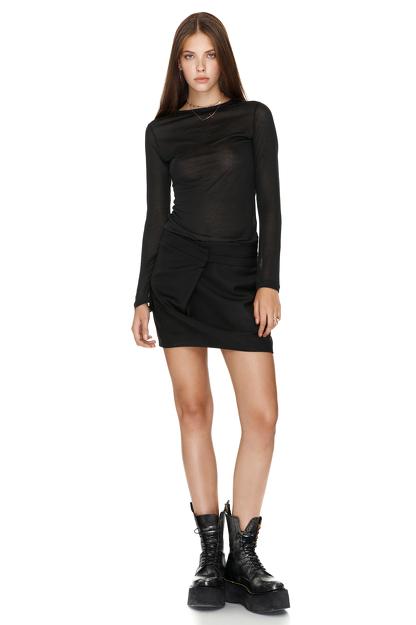 Black Wool Mini Skirt