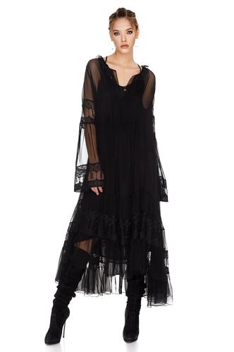 Black Silk Chiffon Midi Dress - PNK Casual