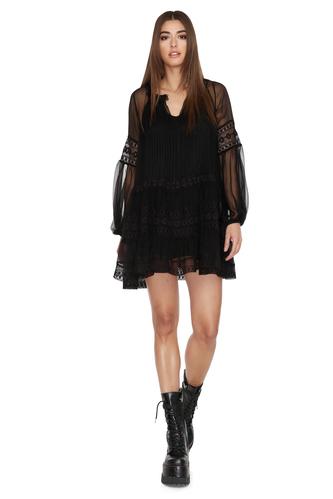 Black Silk Chiffon Mini Dress - PNK Casual