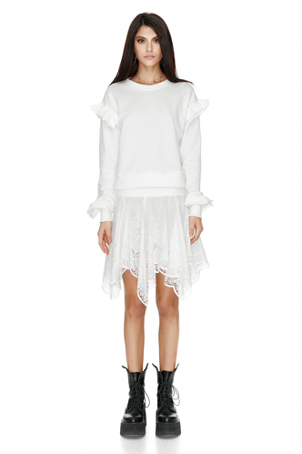 White Blouse With Ruffles - PNK Casual