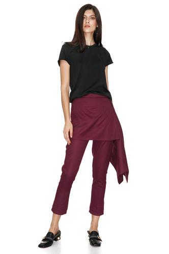 Burgundy Skirt Layered Pants - PNK Casual