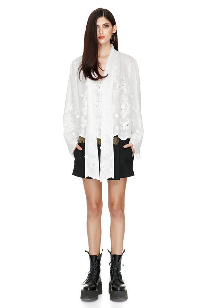 Bow Ties Embroidered Cotton Blouse