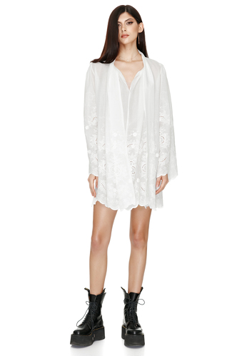 Bow Ties Embroidered Cotton Dress - PNK Casual