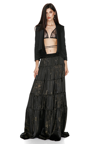 Silk Maxi Skirt With Metallic Insertions - PNK Casual