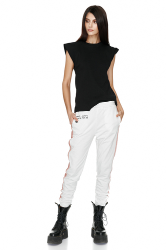 Printed White Track Pants - PNK Casual