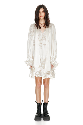 White Silk Metallic Ruffled Dress - PNK Casual
